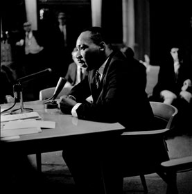 The Rev. Martin Luther King Jr. speaks at an April 4, 1967, news conference at The Riverside Church in New York.