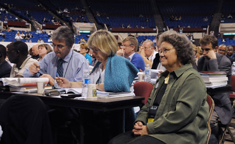 "Delegates consider legislation at the 2008 United Methodist General Conference, where the assembly voted to add wording to the liturgy for profession of membership. Henceforth, people joining United Methodist churches will promise to be faithful in ""their witness,"" as well as in their ""prayers, their presence, their gifts and their service."""