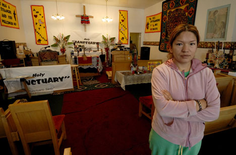 Elvira Arellano took sanctuary in Adalberto United Methodist Church in Chicago for one year ending in August of 2007 before her arrest in Los Angeles.