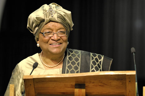 Ellen Johnson Sirleaf, president of Liberia, addresses the 2008 United Methodist General Conference. Sirleaf is a United Methodist and the first female head of state in Africa.