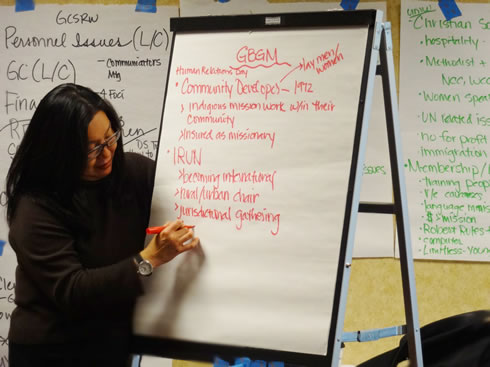 GCSRW's Elaine Moy captures some points during a discussion on women's issues.