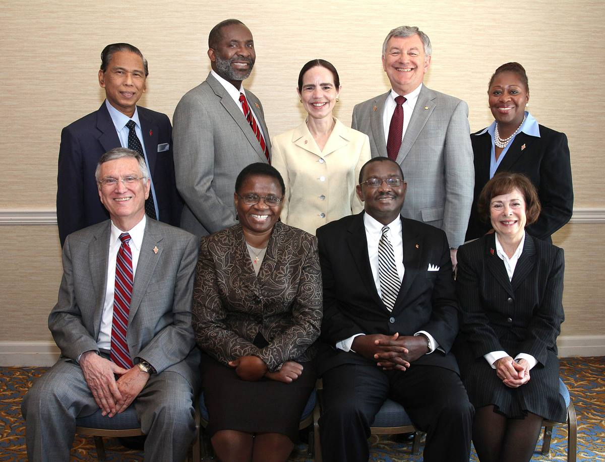 The Judicial Council for the 2012-16 Quadrennium pose for a group photo during the 2012 United Methodist General Conference in Tampa, Fla. Seated, from left: Belton Joyner, J. Kabamba Kiboko, N. Oswald Tweh Sr., and Kathi Austin Mahle. Standing from left: Ruben T. Reyes, Dennis Blackwell, Beth Capen, William B. Lawrence and Angela Brown. A UMNS photo by Kathleen Barry