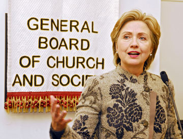 Hillary Rodham Clinton, then a U.S. senator, speaks during a reception given by the United Methodist Board of Church and Society in 2007. A UMNS file photo by Jay Mallin.