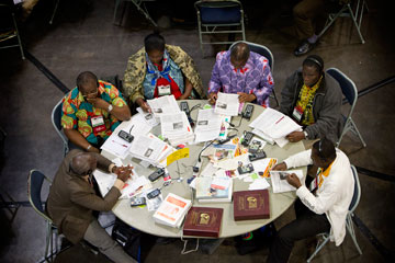 Delegates from Cote d'Ivoire consider legislation at the 2012 United Methodist General Conference in Tampa, Fla. A UMNS photo by Mike DuBose.