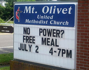 Mt. Olivet United Methodist Church in Galax, Va. offers hospitality to passersby affected by recent storms. A UMNS web-only photo courtesy of the Holston Conference.