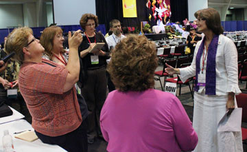 Newly elected Bishop Sandra Steiner Ball takes questions after her July 18 election to the episcopacy by the Northeastern Jurisdictional Conference. Photo courtesy of the West Virginia Annual (regional) Conference.