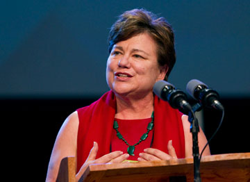 The Rev. Kim Cape, top executive of the United Methodist Board of Higher Education and Ministry, speaks during the church's 2012 General Conference in Tampa, Fla. A UMNS file photo by Mike DuBose.