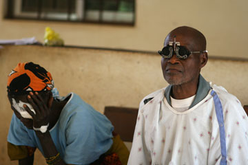 Patients wait in the eye clinic at Ganta United Methodist Hospital.
