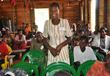 Businesswoman Esther Nalongo addresses a training session for women entrepreneurs in Jinja, Uganda. Nalongo started a business with a $50 loan from United Methodist Women. A UMNS web-only photo by Grace Nakajje.