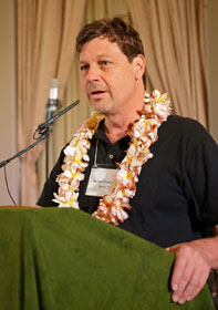 The Rev. Michael Christensen, director of Communities of Shalom, speaks during a cultural celebration for Shalom Summit in Los Angeles. UMNS photo by Greg Keating.