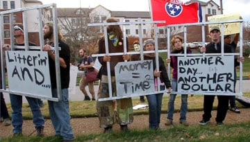 Nashville groups join Occupy Nashville participants and former CCA detainees to protest at the private-prison company's headquarters.