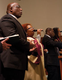 Illinois Area Bishop Gregory V. Palmer (left) and Danita Waller Paige of Theressa Hoover United Methodist Church in Little Rock were among Can We Talk? worship leaders at the South Central jurisdictional gathering focused on the African-American church.