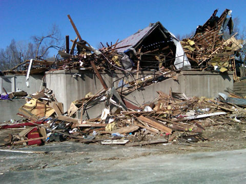 A tornado destroyed Harveyville (Kan.) United Methodist Church. UMNS web-only photos by Julie Pohl.