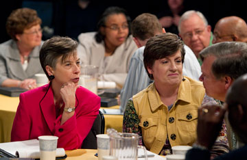 Members of the studio audience take part in a discussion of the denomination's future challenges.