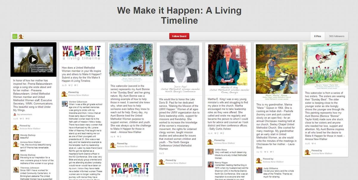 """United Methodist Women is creating a """"living timeline"""" on PInterest for the UMW assembly."""