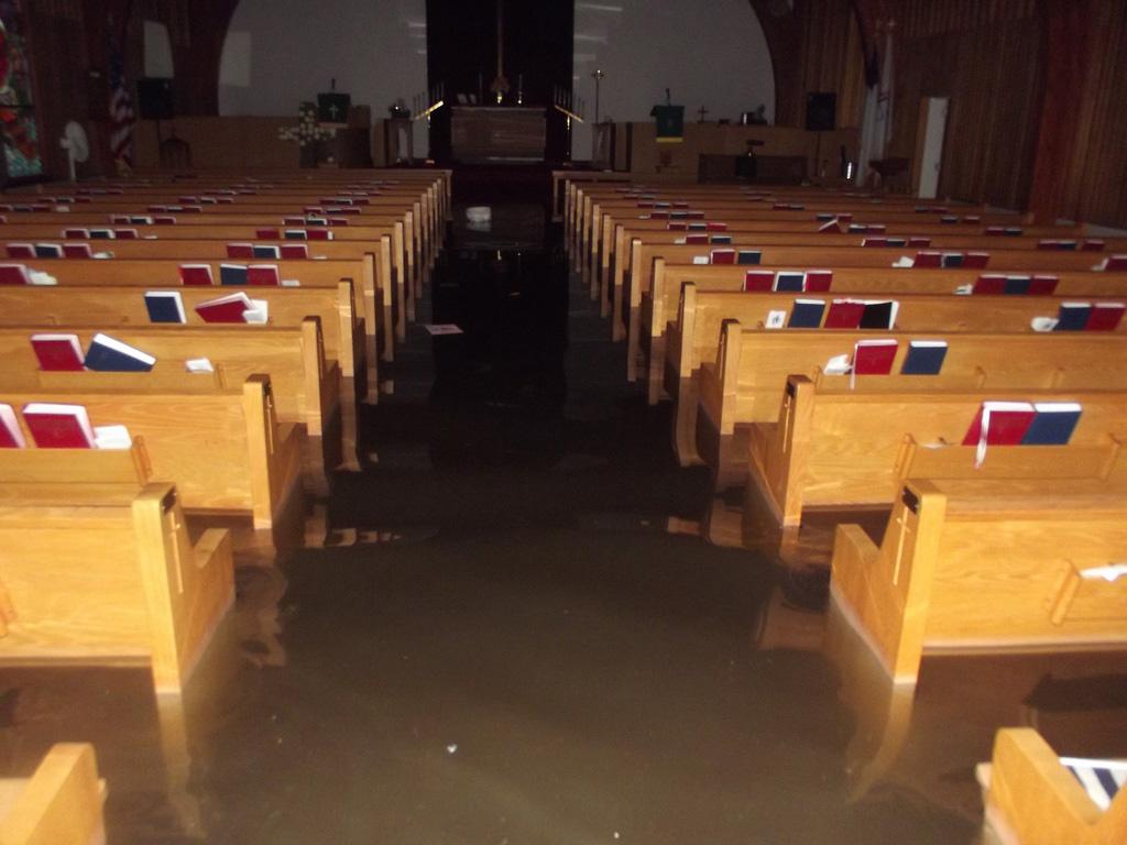 Water was high inside this church in Belmar, N.J.