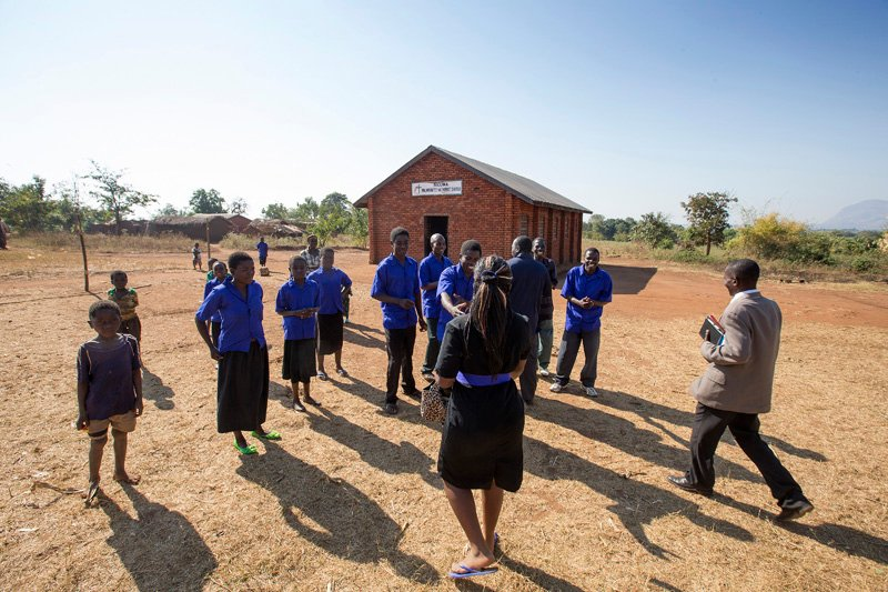 Members of the choir welcome visitors to the Nkuwa, Malawi United Methodist Church. A UMNS photo by Mike DuBose.