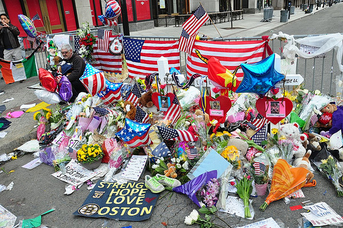 A memorial for the Boston Marathon attack on April 15, 2013. United Methodists around the world testified to seeing God in the response to the tragedy. Photo by Anubis Abyss/Creative Commons.