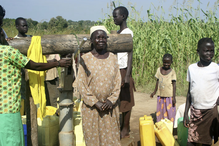 Sudanese women and children wait to get water from a borehole in Yei, Sudan. Photos courtesy of the Holston Annual Conference of the United Methodist Church.