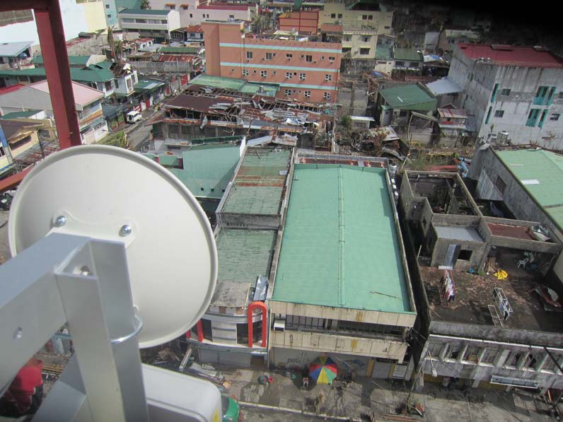 An Inveneo-installed wireless networking dish provides connectivity to a NetHope member NGO in Tacloban. Photo courtesy of Inveneo.