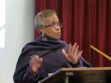 Vivian Finnell, founder and CEO of N2BLU, Not to Believers Like Us, Inc., speaks during the conference.