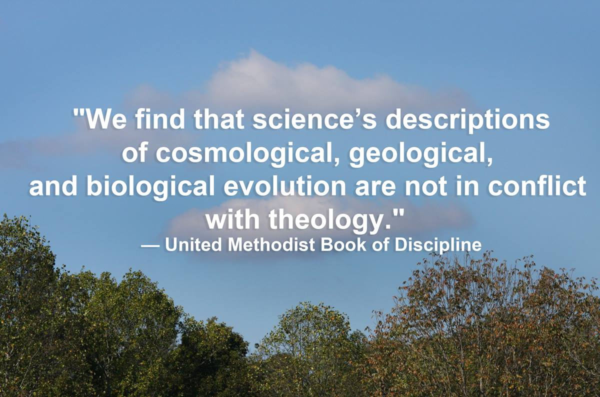Science and theology are not in conflict according to the Book of Discipline.