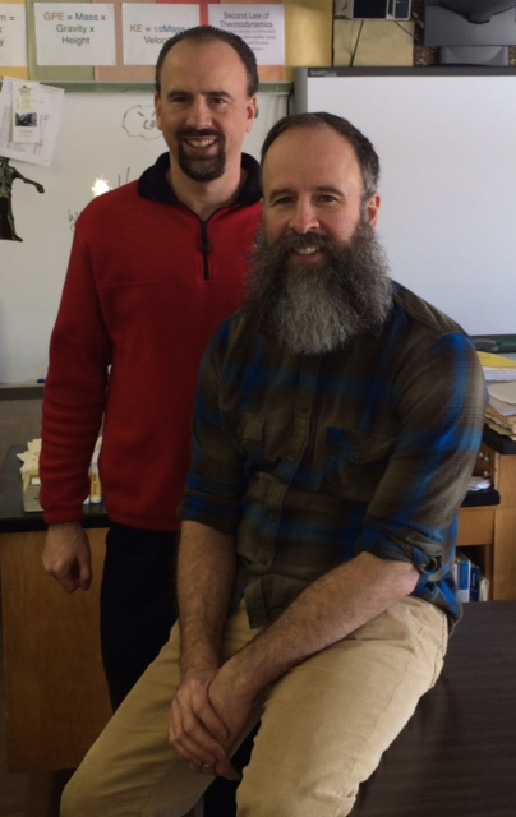 Kent Knappenberger won the first Grammy for a music educator. His brother Lon (standing) teaches science at the same school and last year was in the first group selected for the New York State Master Teachers program.