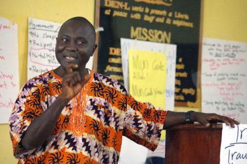 Dr. Morris Y. Harris of Phebe Hospital speaks at the seminar on gender-based violence.