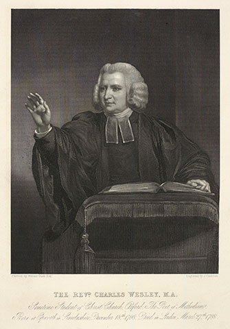 "Charles Wesley is known for such hymns as ""Hark! the Herald Angels Sing,"" but had a huge role, with brother John, in starting the Methodist movement. A web-only portrait courtesy of the University of Manchester."