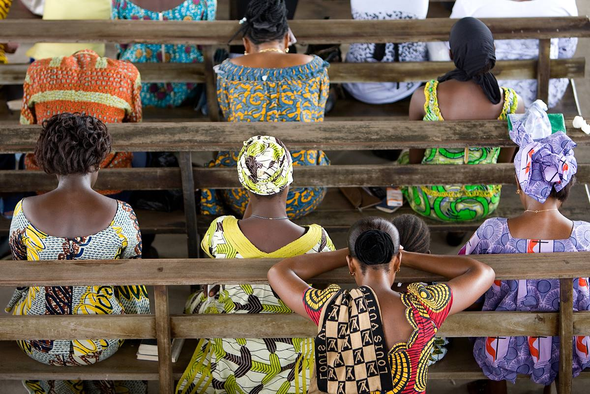 Members of the congregation pray during worship at Jourdain United Methodist Church in Abidjan, Cote d'Ivoire.