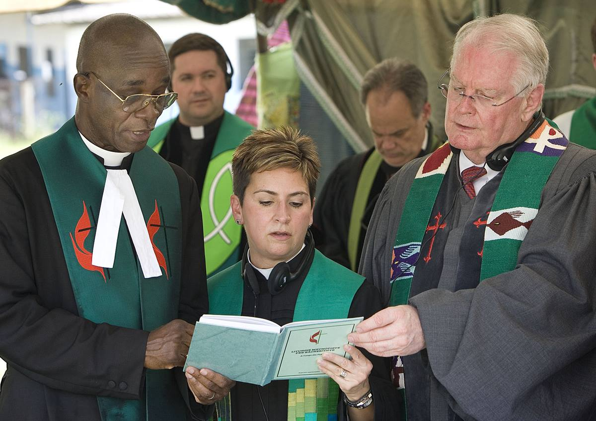 The Rev. Cynthia Harvey participates in a prayer service in Cote d'Ivoire in 2009.