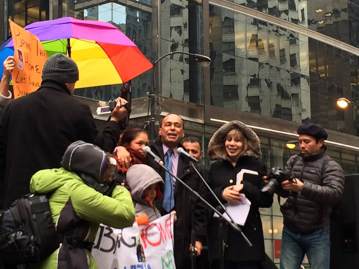 Congressman Luis Gutierrez and human rights leader Elvira Arellano, joined a rally on March 27 to ask the President to end deportations. Bishop Sally Dyck and more than 50 United Methodist clergy and laity participated. Photo by Michael Vollmer, UMNS