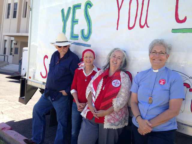 Participating in the April 5 prayer vigil in Safford, Ariz., are the Rev. Bob Gilfert, First United Methodist Church, Barbara Haralson, a member of First United Methodist and deaconess candidate, Deaconess Marjie Hrabe from St. Marks' UMC in Tucson, and Rev. Sherry Brady, associate minister, First United Methodist Church Safford, Ariz. Photo by Ken Showers.