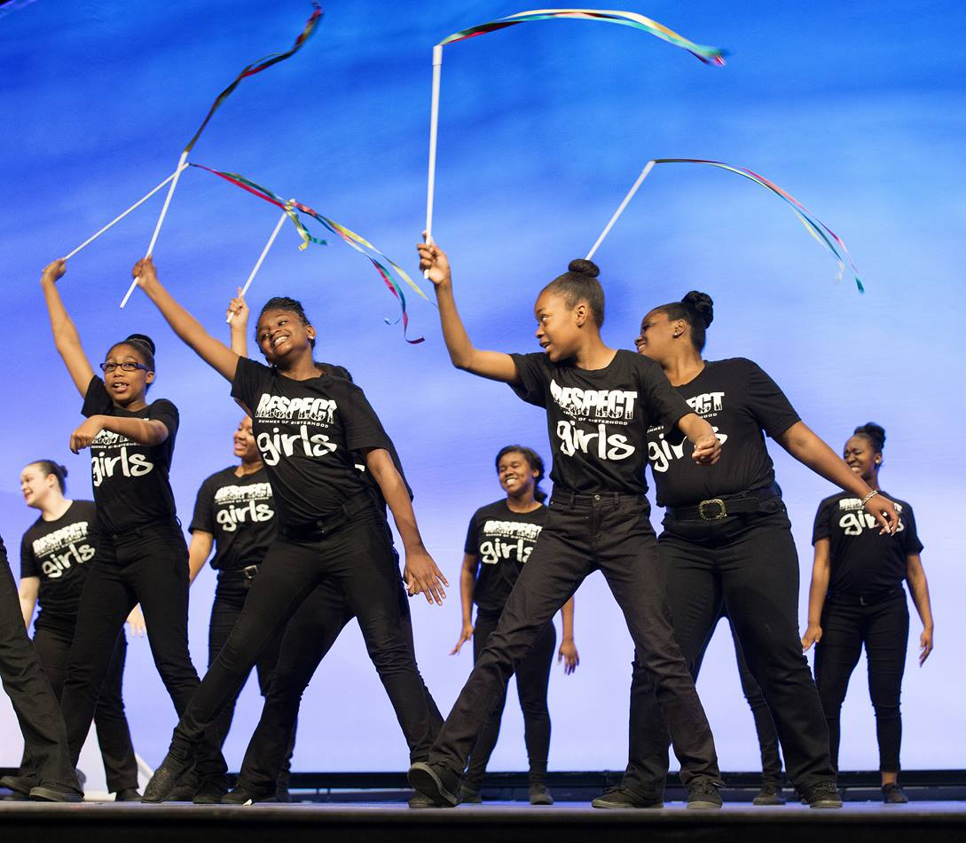 Summer of Sisterhood, a girls' musical group from Cleveland, Ohio, performs at Assembly 2014.