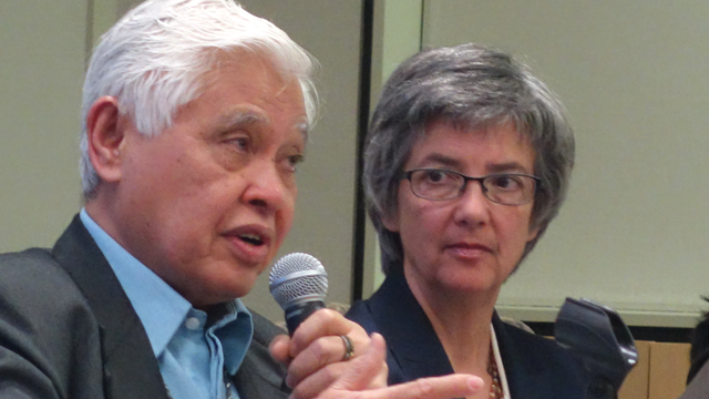 Retired Bishop Daniel C. Arichea Jr. describes his personal journey during an online dialogue on human sexuality, held April 29 by the United Methodist Connectional Table. Bishop Hope Morgan Ward listens.