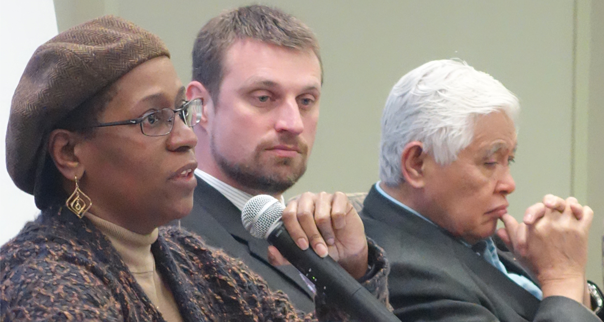 The Rev. Pamela Lightsey, associate dean for community life and lifelong learning at Boston University School of Theology, shares her views during the April 29 online dialogue on human sexuality, held by the Connectional Table in Chicago. The Rev. Mark Teasdale (center) and retired Bishop Daniel C. Arichea Jr. round out the three-person panel.