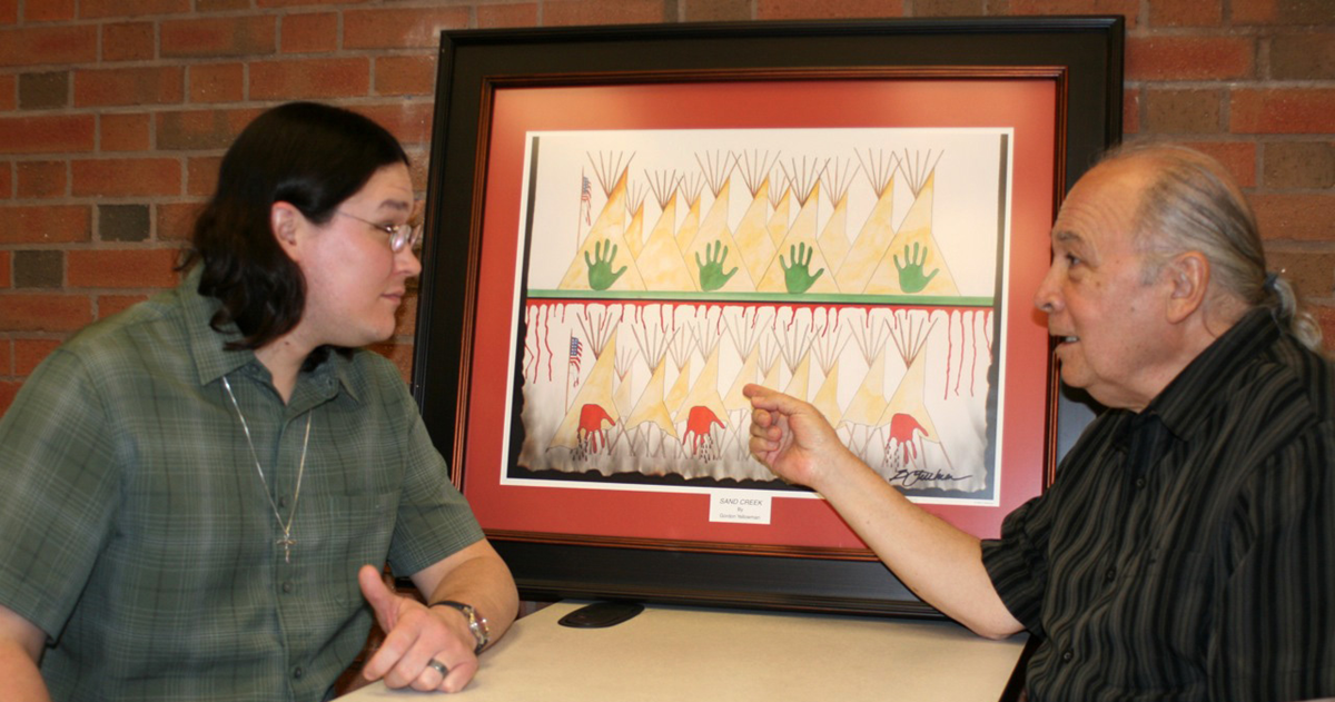 (From left) Theology student Murray Crooks speaks with the Rt. Rev. Stephen Charleston on the campus of Saint Paul School of Theology at Oklahoma City University. Crooks is a Native American student from Alaska.