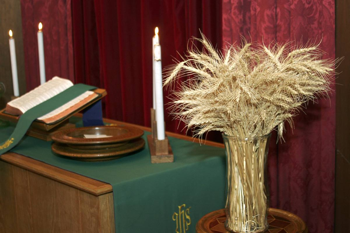 The intimate connection of the rural church to the land is shown in an altar arrangement with wheat during harvest time at Donnybrook United Methodist Church in North Dakota. Photo by Jan Snider, UMNS.
