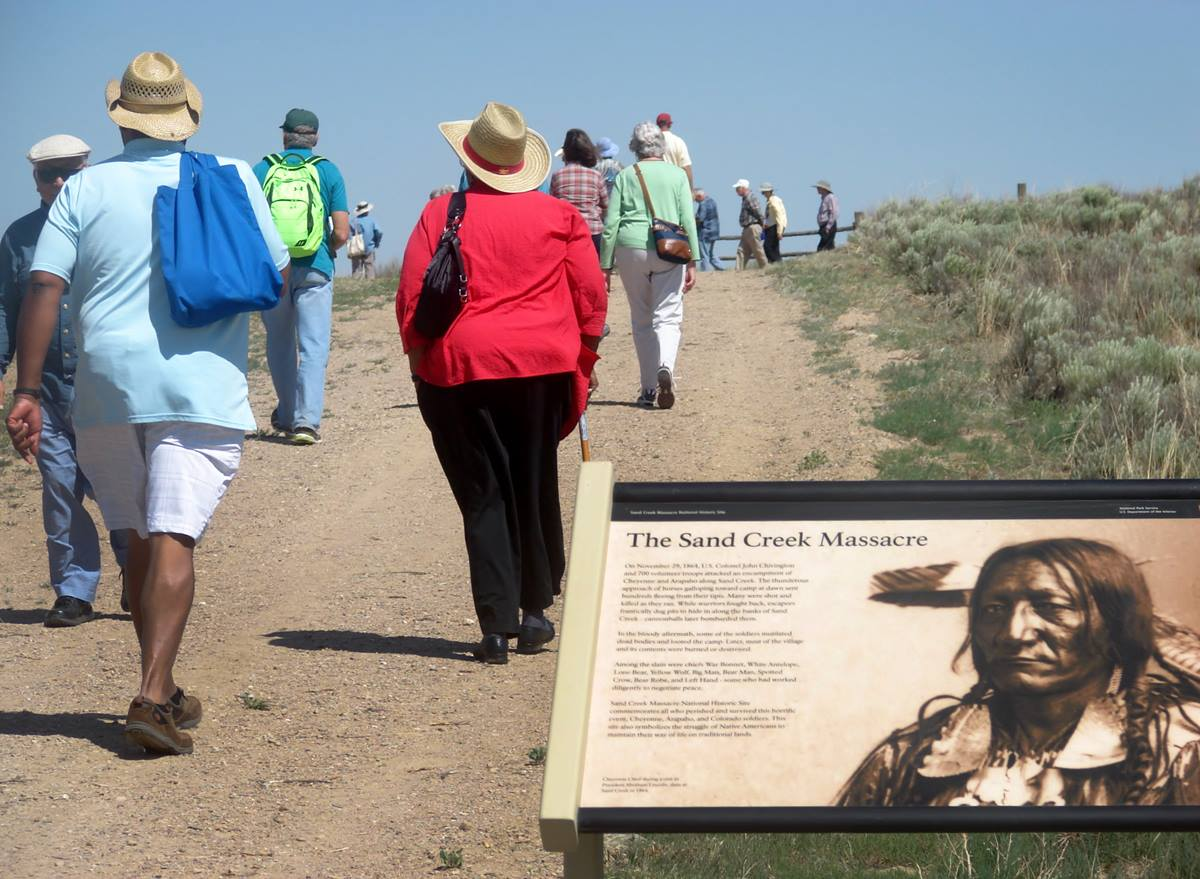 Some 650 members of the Rocky Mountain Annual (regional) Conference and their guests tour the Sand Creek Massacre National Historic Site, near Eads, Co., on Friday, June 20. A Methodist clergyman-turned-soldier ordered the 1864 attack against a Cheyenne and Arapaho village, and descendants of the survivors joined in June 20 pilgrimage. Photo by Sam Hodges, UMNS
