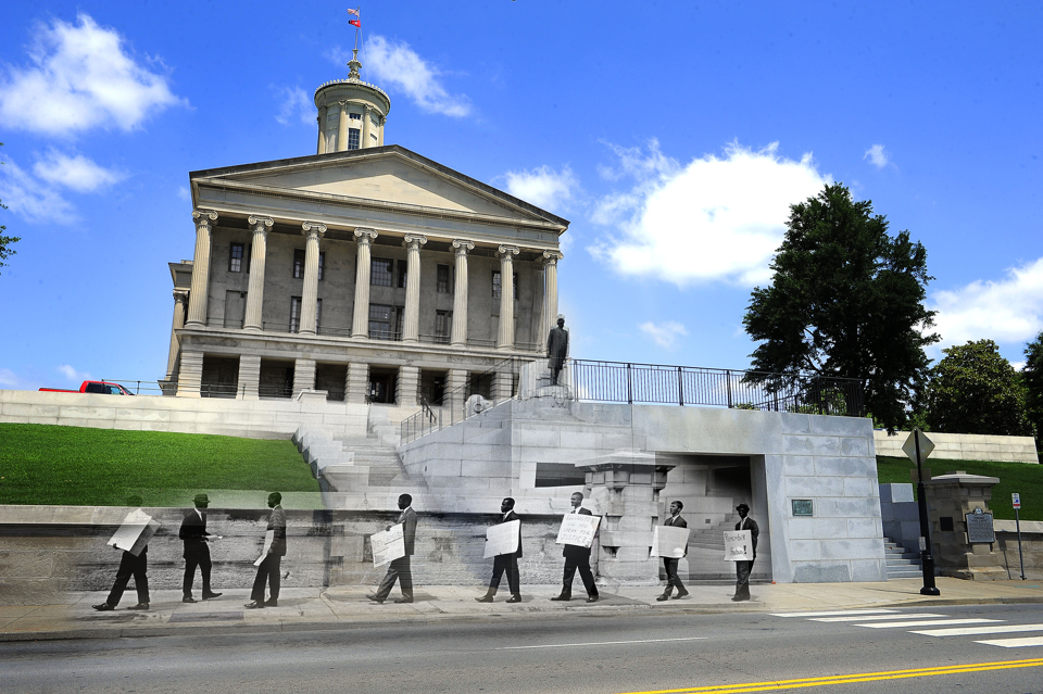 "A group of 18 Negroes and whites picket the State Capitol and try to see Gov. Buford Ellington to seek reinstatement of 14 ""Freedom Riders"" dismissed from Tennessee A & I State University in June, 1961."