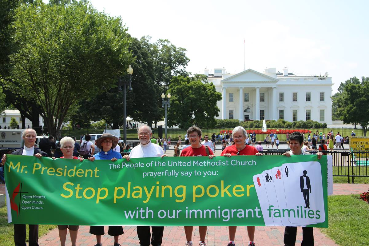 """United Methodists join in """"Day of Prophetic Action"""" in front of the White House."""