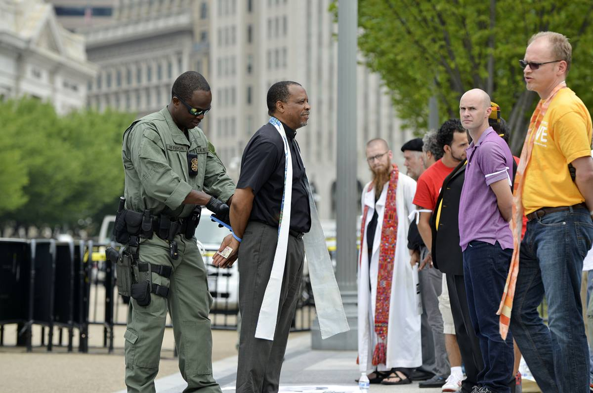 The Rev. John McCullough, a United Methodist and president and CEO of Church World Service, was among faith leaders arrested in immigration deportation protest.