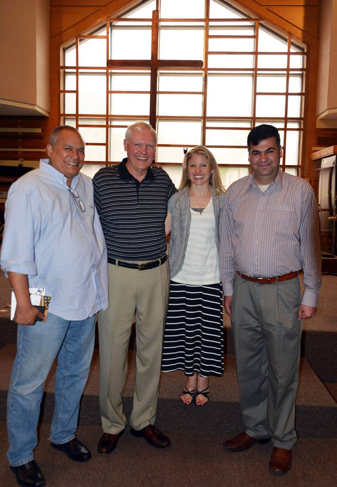 Hameed (right) gathers with friends at Christ Church. From left are: Rennie Chan, Bill Shugarts and the Rev. Monica Reynolds.