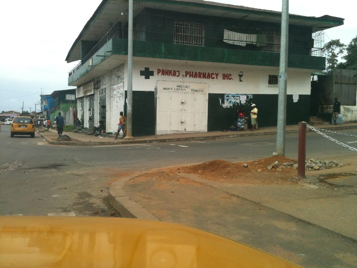 A store in Monrovia, Liberia, was closed after a nationwide curfew and other restrictions were imposed  to stop the spread of Ebola. Violent protests broke out after two Monrovia neighborhoods were quarantined and people were not allowed to leave. In the rest of the city, some stores and banks were closed because of confusion about restrictions imposed by the government.