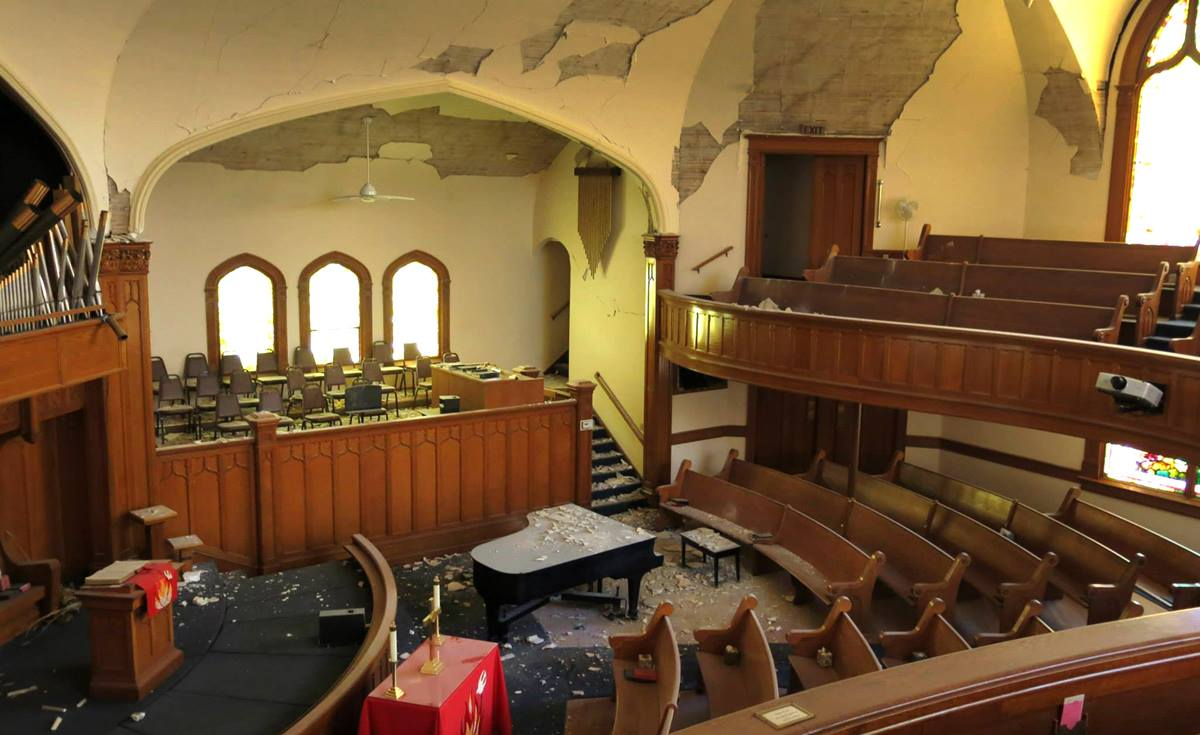 The interior of Napa First United Methodist shows debris and damage to the church following the recent 6.0 earthquake in California.  Photo by Amy Herzog, Napa First United Methodist Church.