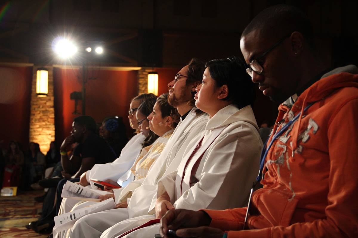 Robed clergy at the closing worship service of Exploration 2013 in Denver, Colo. From left, Karli Pidgeon, Jasmine Smothers, Bishop Cynthia Fierro Harvey, Alejandro Alfaro Santiz, Betty Nguyen, and Michael Parker.  Photo by Joseph McBrayer