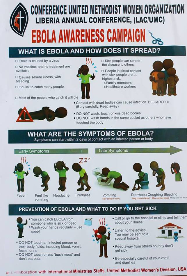 A close-up of an Ebola awareness poster shared by the Liberia United Methodist Women.