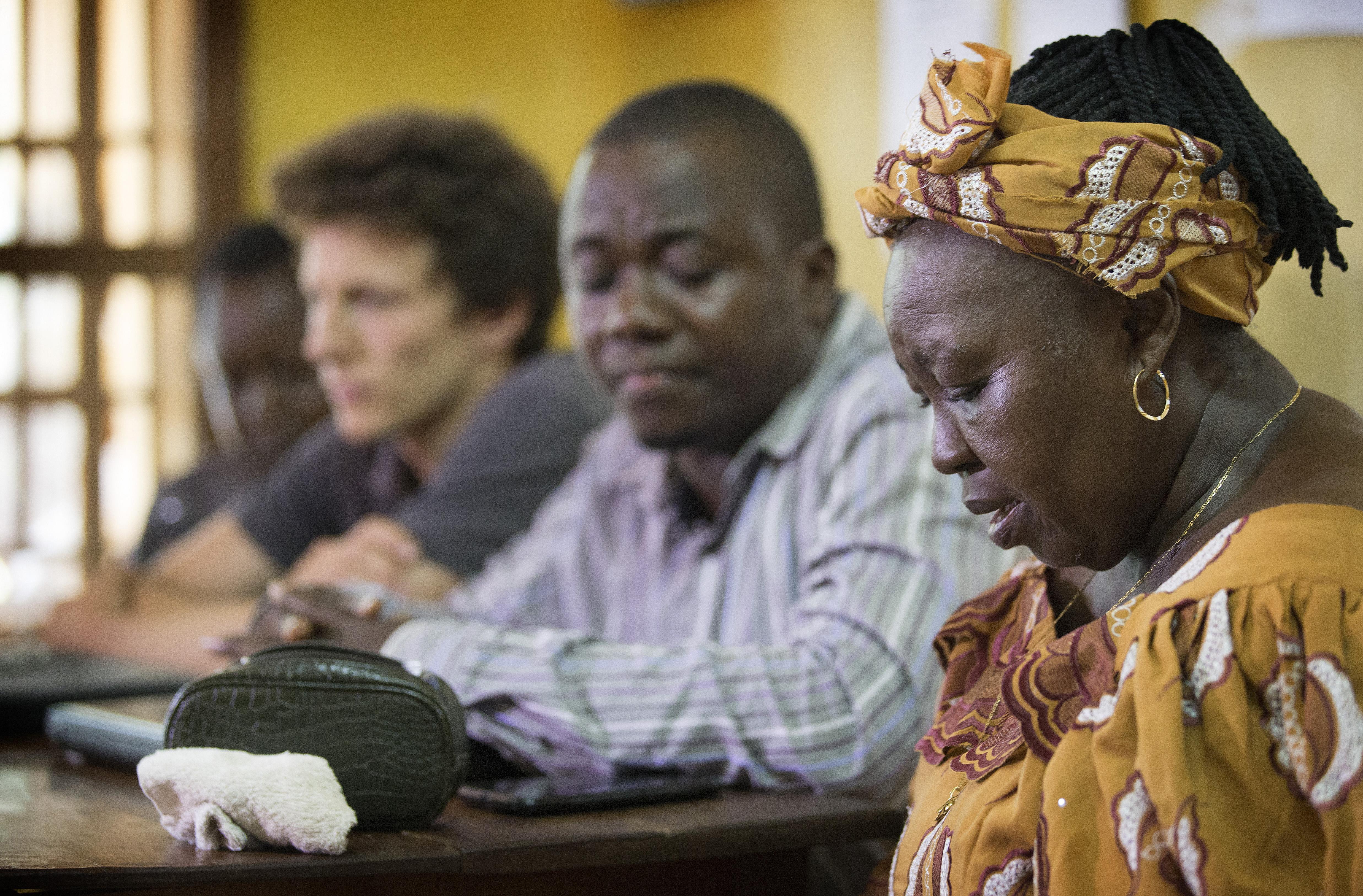 In Sierra Leone, Beatrice Gbanga leads of prayer at the United Methodist Church's Mercy Hospital in Sierra Leone. Photo by Mike DuBose, UMNS