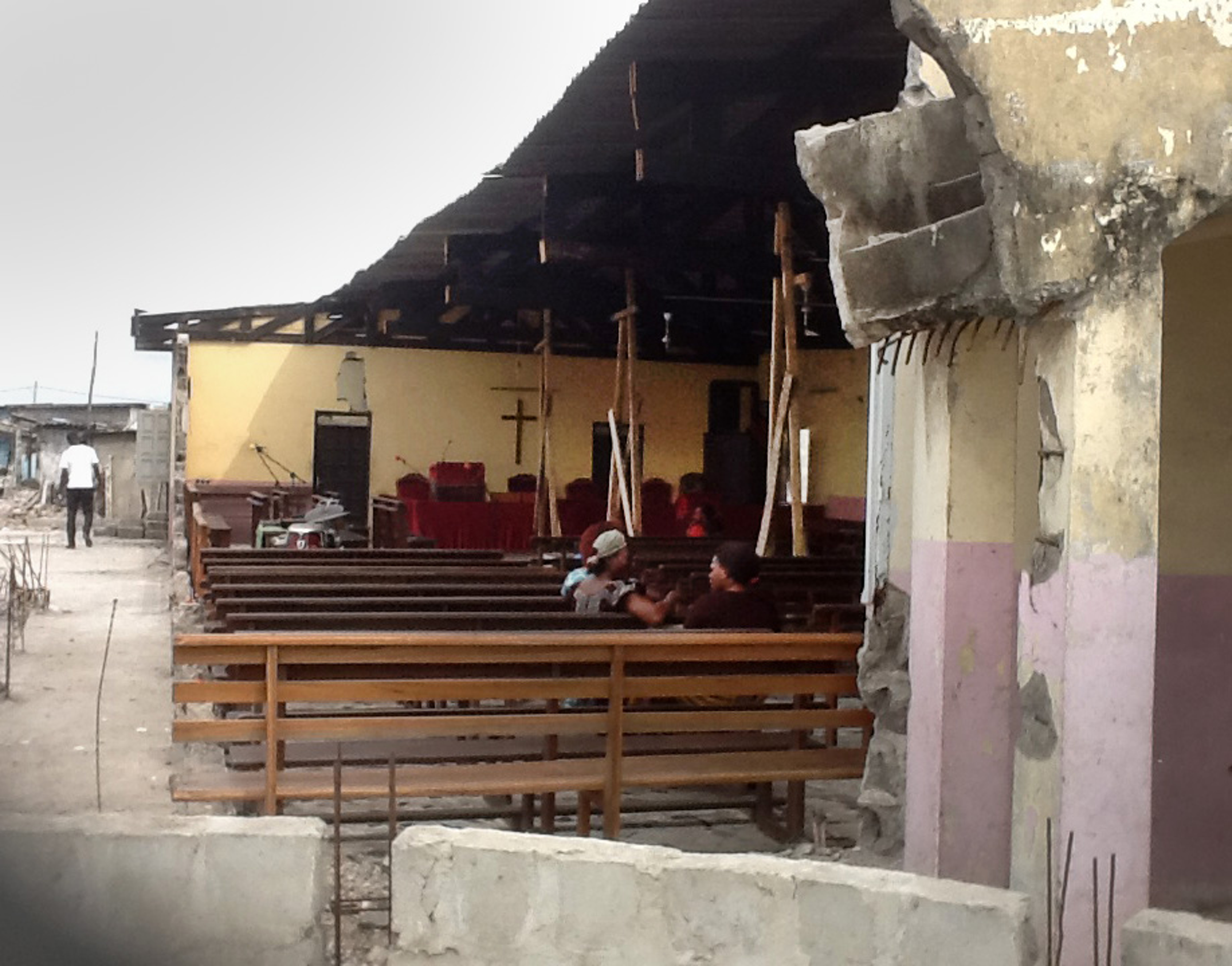 Another view of damage to the church. Photo by Isaac Broune, UMNS