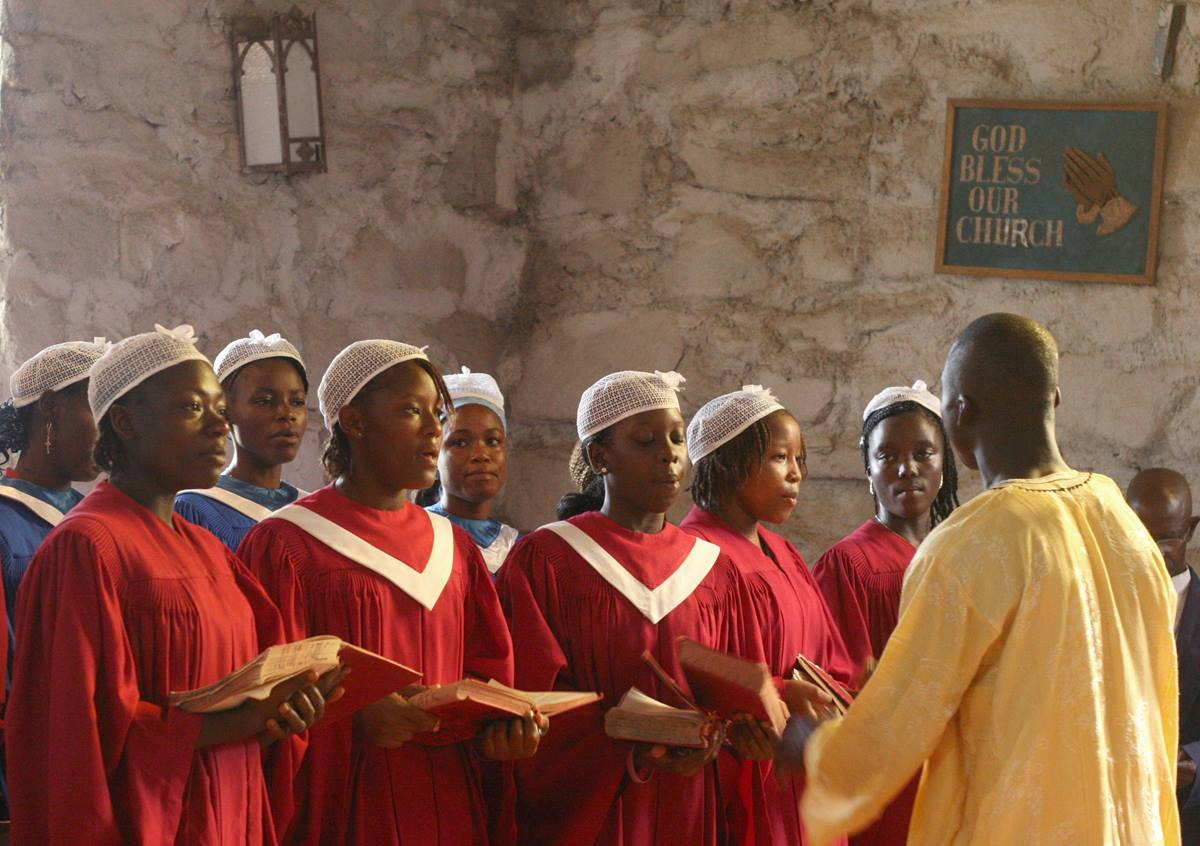 The Miller McAllister United Methodist Church is located at the Ganta United Methodist Mission Station that was started by missionaries from the U.S. in 1926. In this 2012 file photo, choir members sing during worship.